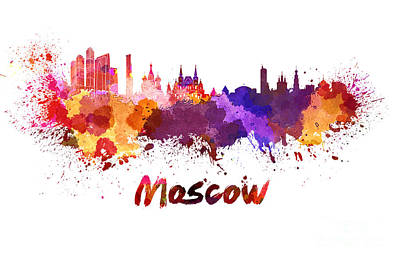 Moscow Skyline In Watercolor Poster by Pablo Romero