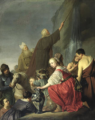 Moses Striking Water From The Rock Oil On Canvas Poster by Salomon de Coninch
