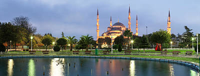 Mosque Lit Up At Dusk, Blue Mosque Poster by Panoramic Images