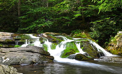 Mossy Mountain Falls Poster by Frozen in Time Fine Art Photography
