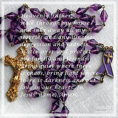 Most Powerful Prayer With Rosary Beads Poster by Barbara Griffin
