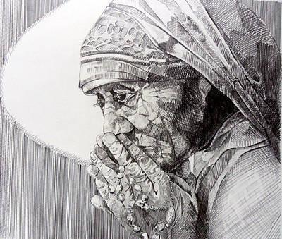 Mother Teresa At Prayer Poster by Gary Beattie