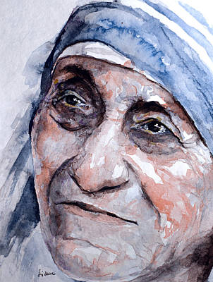 Mother Theresa Watercolor Poster by Laur Iduc