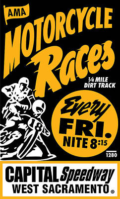 Motorcycle Races Poster by Gary Grayson