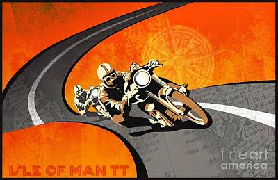 Motorcycle Racing Isle Of Man Poster by Pg Reproductions