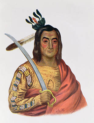 Mou-ka-ush-ka Or The Trembling Earth, A Yankton Sioux Chief, Illustration From The Indian Tribes Poster by George Cooke