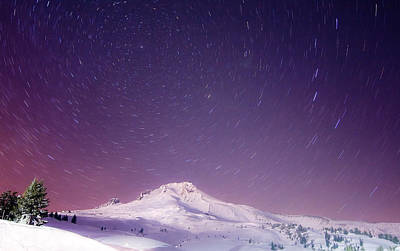 Mount Hood And Stars Poster by Darren  White
