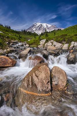 Mount Rainier Glacial Flow Poster by Adam Romanowicz