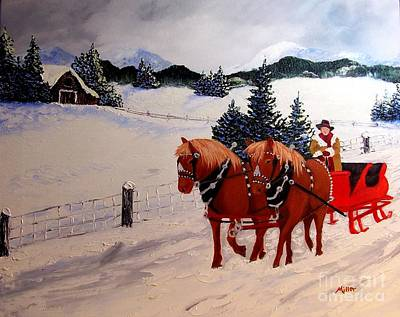 Mountain Sleigh Ride  Poster by Peggy Miller