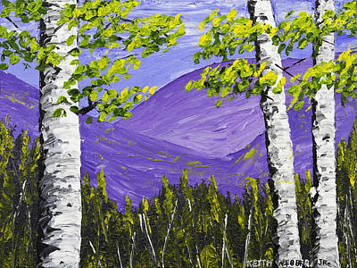 Mountains And Birch Trees In Spring Pallete Knife Painting Poster by Keith Webber Jr