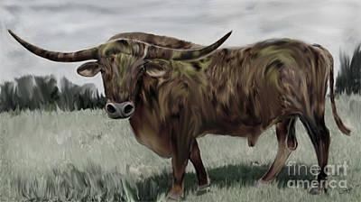 Mr Big Red Bull Digital Painting Poster by Heinz G Mielke