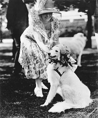 Mrs. Coolidge And Her Dog Poster by Underwood Archives