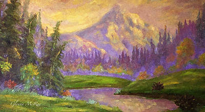 Mt. Hood At Dawn's Early Light Poster by Glenna McRae