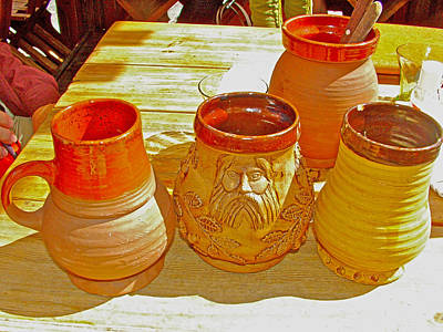 Mugs For Herb-cinnamon And Honey Beer In Old Town Tallinn-estonia Poster by Ruth Hager