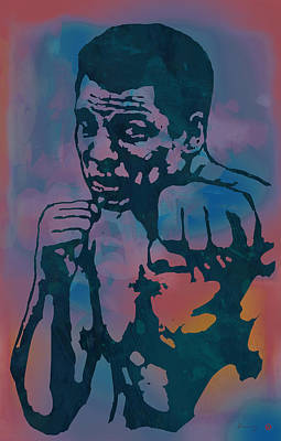 Muhammad Ali  - Stylised Etching Pop Art Poster Poster by Kim Wang