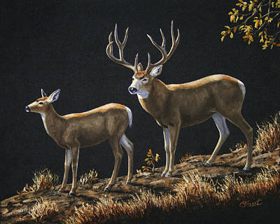 Mule Deer Ridge Poster by Crista Forest