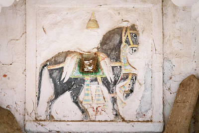 Mural Of Horse Inside Ghanerao Castle Poster by Keren Su