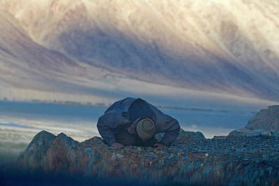 Muslim Praying Towards The West At Dusk Poster by Keren Su