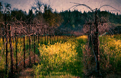 Mustard Flowers With Vines Poster by John K Woodruff