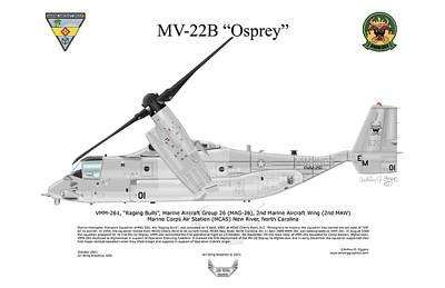 Mv-22b 6732 Vmm-261 Poster by Arthur Eggers