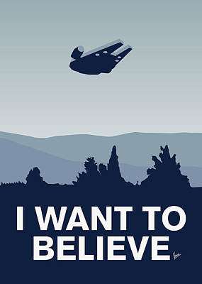 My I Want To Believe Minimal Poster-millennium Falcon Poster by Chungkong Art