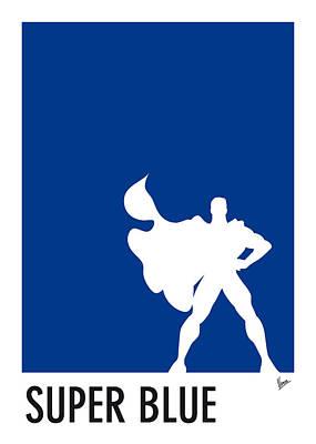 My Superhero 03 Super Blue Minimal Poster Poster by Chungkong Art