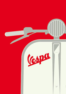 My Vespa - From Italy With Love - Red Poster by Chungkong Art