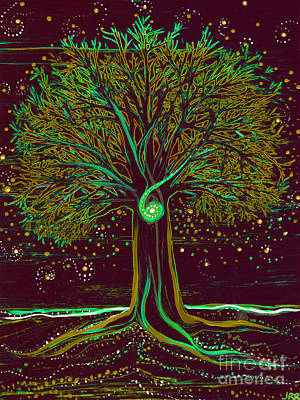 Mystic Spiral Tree  Green By Jrr Poster by First Star Art