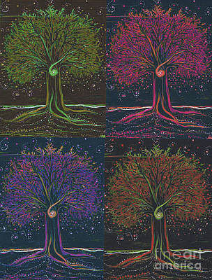 Mystic Spiral Tree X 4 By Jrr Poster by First Star Art
