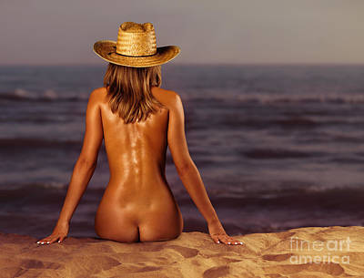 Naked Woman Sitting At The Beach On Sand Poster by Oleksiy Maksymenko