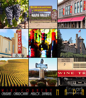 Napa Valley Wine Country 20140905 With Text Poster by Wingsdomain Art and Photography