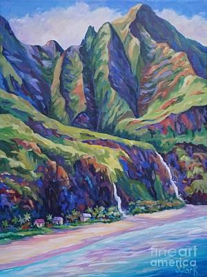 Napali Coast Evening Colours Poster by John Clark