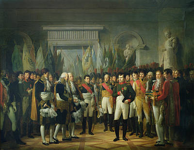Napoleon I 1769-1821 Receiving The Deputies Of The Conservative Senate At The Royal Palace Poster by Rene Theodore Berthon