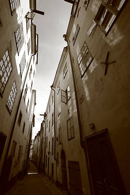 Narrow Medieval Street In Stockholm - Monochrome Poster by Ulrich Kunst And Bettina Scheidulin