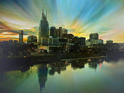 Nashville Over The Cumberland Poster by Steven  Michael