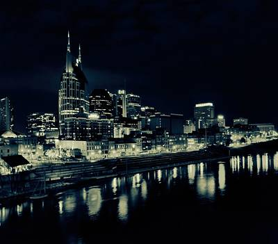 Nashville Skyline Reflected At Night Poster by Dan Sproul