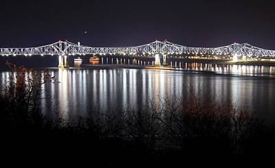 Natchez Bridge By Night Poster by Aaris King