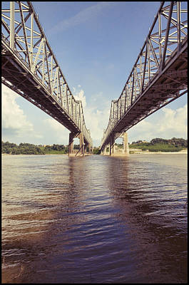 Natchez Bridges Crossing The Mississippi Poster by Ray Devlin