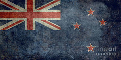 National Flag Of New Zealand Retro Vintage Version To Scale Poster by Bruce Stanfield