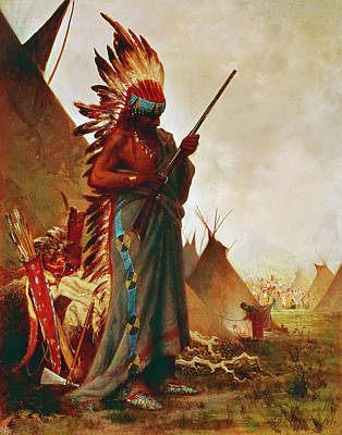 Native American And Rifle Poster by Granger