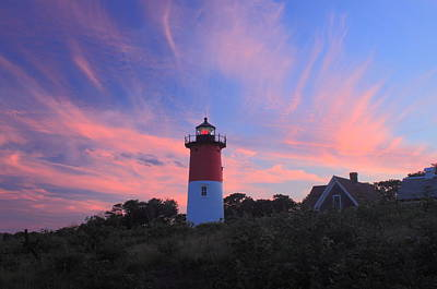 Nauset Lighthouse Cape Cod Sunset Poster by John Burk