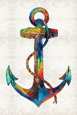 Nautical Anchor Art - Anchors Aweigh - By Sharon Cummings Poster by Sharon Cummings