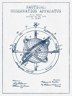Nautical Observation Apparatus Patent From 1895  -  Blue Ink Poster by Aged Pixel