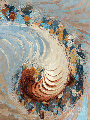 Nautilus Abstract - Blue/brown/beige Poster by Heidi Smith