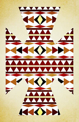 Navajo White Pattern Aged Poster by Christina Rollo