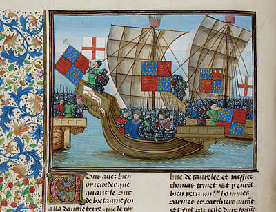 Naval Battle Between France And England Poster by British Library