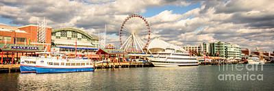 Navy Pier Chicago Panoramic Photo Poster by Paul Velgos