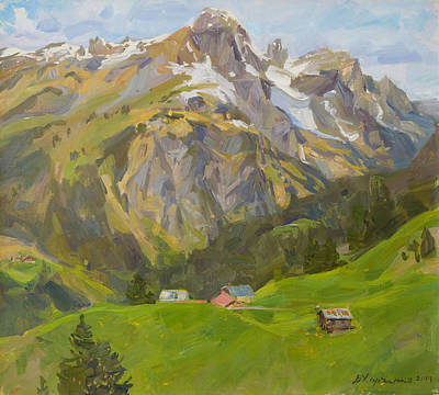 Near Tops Of Tyrolean Mountains Poster by Victoria Kharchenko