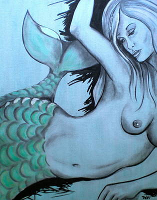 Nearly Naked Sea Pearl Green Poster by Debi Starr