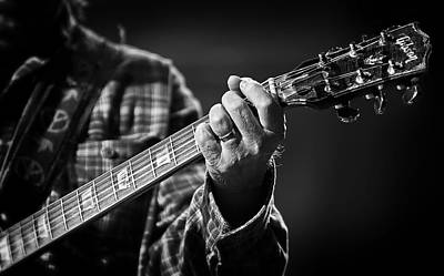 Close Up Of Neil Young's Hand Playing Guitar  Poster by Jennifer Rondinelli Reilly - Fine Art Photography